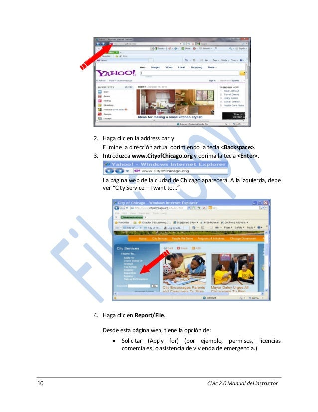10 Civic 2.0 Manual del instructor 2. Haga clic en la address bar y Elimine la dirección actual oprimiendo la tecla <Backs...