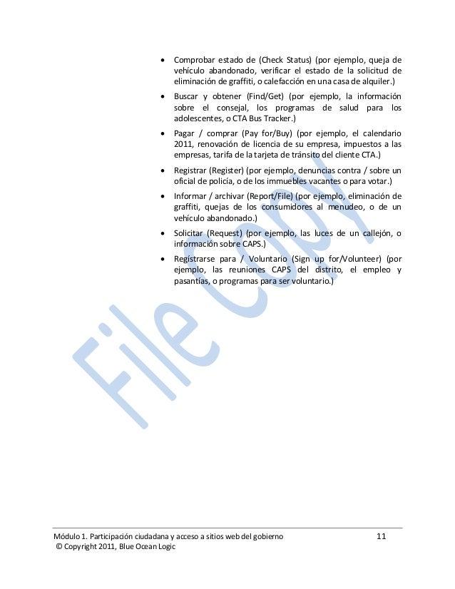 Módulo 1. Participación ciudadana y acceso a sitios web del gobierno 11 © Copyright 2011, Blue Ocean Logic  Comprobar est...