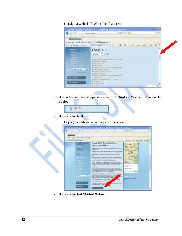 """12 Civic 2.0 Manual del instructor La página web de """"I Want To..."""" aparece. 5. Use la flecha hacia abajo para encontrar Gr..."""