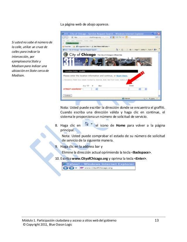 Módulo 1. Participación ciudadana y acceso a sitios web del gobierno 13 © Copyright 2011, Blue Ocean Logic La página web d...