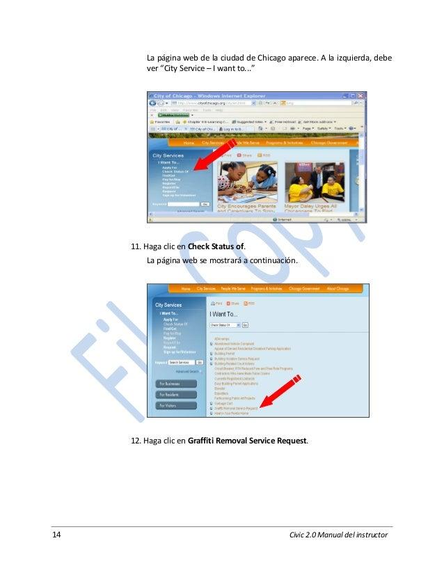"""14 Civic 2.0 Manual del instructor La página web de la ciudad de Chicago aparece. A la izquierda, debe ver """"City Service –..."""