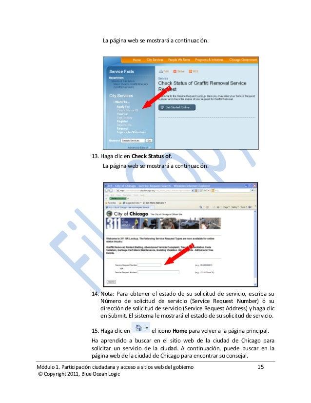 Módulo 1. Participación ciudadana y acceso a sitios web del gobierno 15 © Copyright 2011, Blue Ocean Logic La página web s...