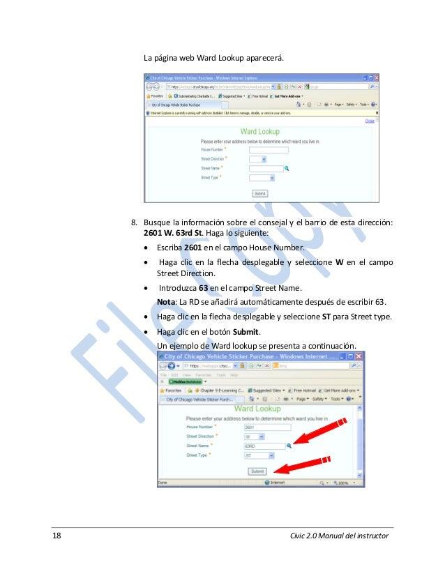 18 Civic 2.0 Manual del instructor La página web Ward Lookup aparecerá. 8. Busque la información sobre el consejal y el ba...