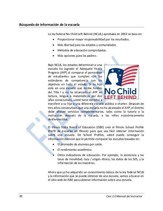 20 Civic 2.0 Manual del instructor Búsqueda de información de la escuela La ley federal No Child Left Behind (NCLB,) aprob...