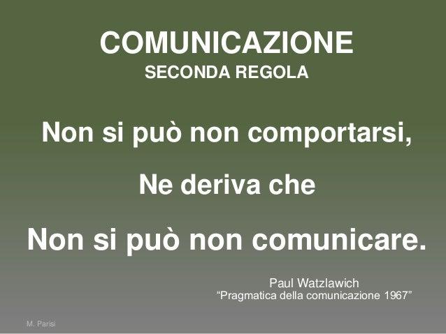 """COMUNICAZIONEM. ParisiNon si può non comportarsi,Ne deriva cheNon si può non comunicare.Paul Watzlawich""""Pragmatica della c..."""