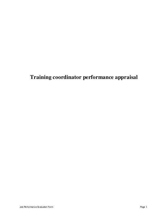 Job Performance Evaluation Form Page 1 Training coordinator performance appraisal