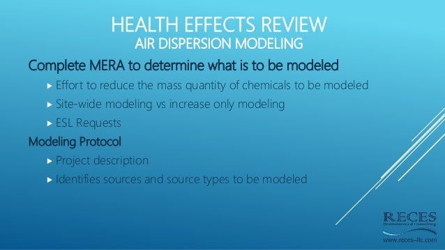 HEALTH EFFECTS REVIEW AIR DISPERSION MODELING Complete MERA to determine what is to be modeled  Effort to reduce the mass...