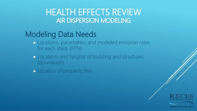 Modeling Data Needs  Locations, parameters and modeled emission rates for each stack (EPN)  Locations and heights of bui...