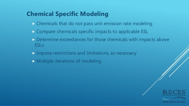 Chemical Specific Modeling  Chemicals that do not pass unit emission rate modeling  Compare chemicals specific impacts t...