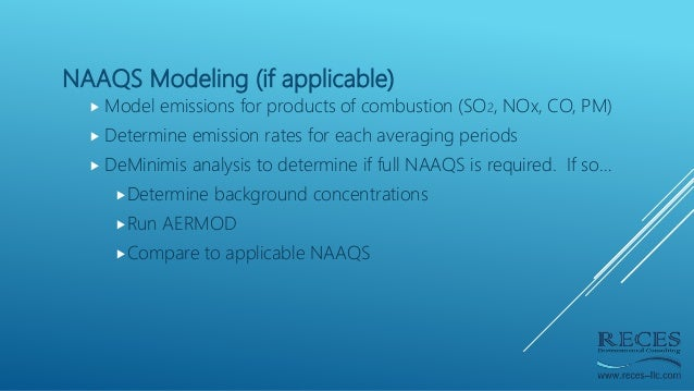 NAAQS Modeling (if applicable)  Model emissions for products of combustion (SO2, NOx, CO, PM)  Determine emission rates ...