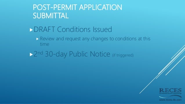 POST-PERMIT APPLICATION SUBMITTAL DRAFT Conditions Issued  Review and request any changes to conditions at this time 2n...