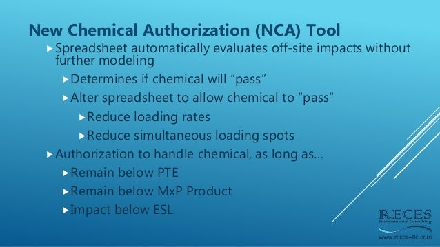 New Chemical Authorization (NCA) Tool Spreadsheet automatically evaluates off-site impacts without further modeling Dete...