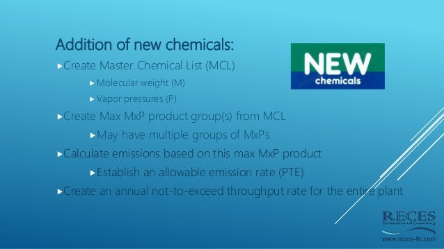 Addition of new chemicals: Create Master Chemical List (MCL)  Molecular weight (M)  Vapor pressures (P) Create Max MxP...