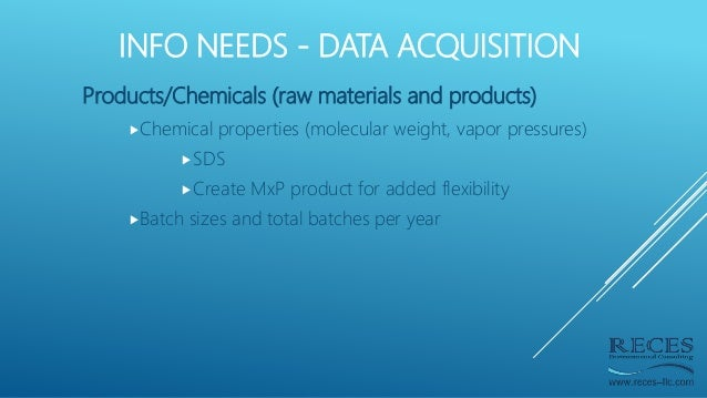 INFO NEEDS - DATA ACQUISITION Products/Chemicals (raw materials and products) Chemical properties (molecular weight, vapo...