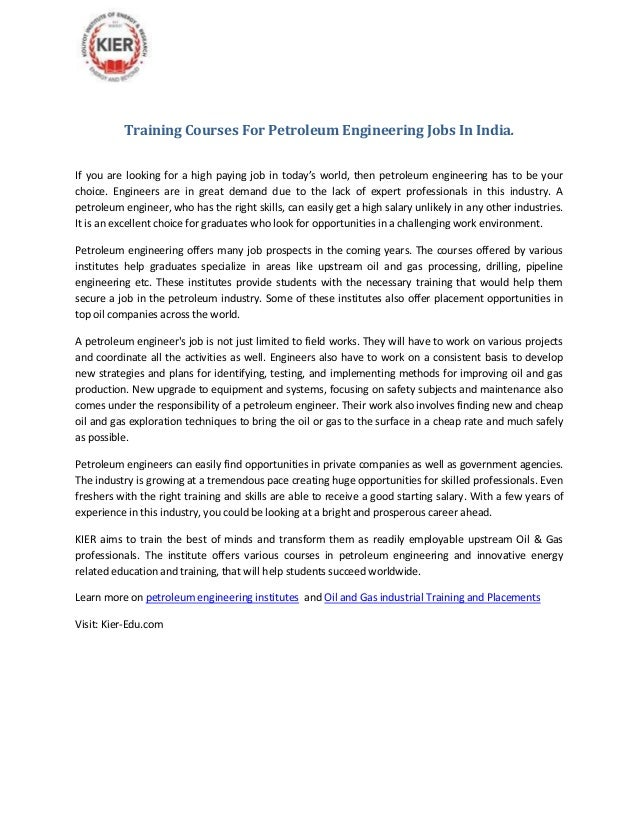Training Courses For Petroleum Engineering Jobs In India