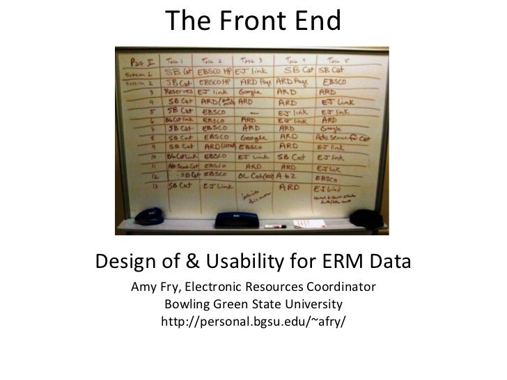 The Front End Design of & Usability for ERM Data Amy Fry, Electronic Resources Coordinator Bowling Green State University ...