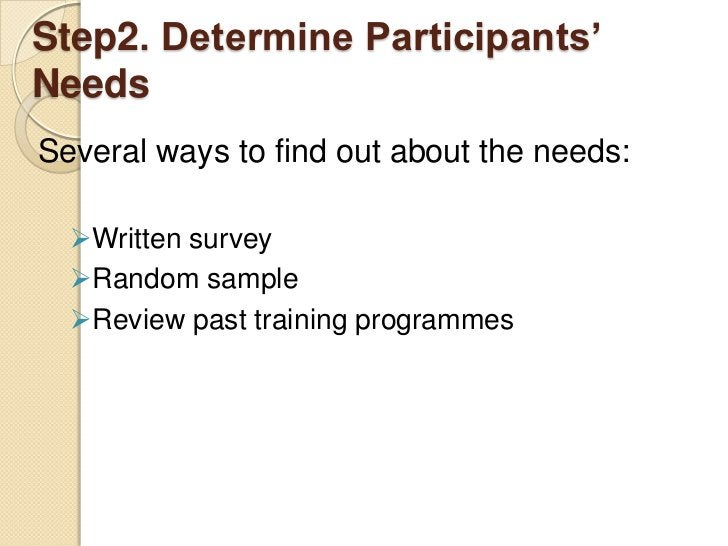 Step2. Determine Participants'NeedsSeveral ways to find out about the needs:  Written survey  Random sample  Review pas...