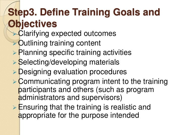 Step3. Define Training Goals andObjectives Clarifying expected outcomes Outlining training content Planning specific tr...