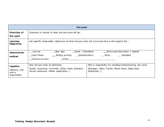 Training Design Document Sample ...