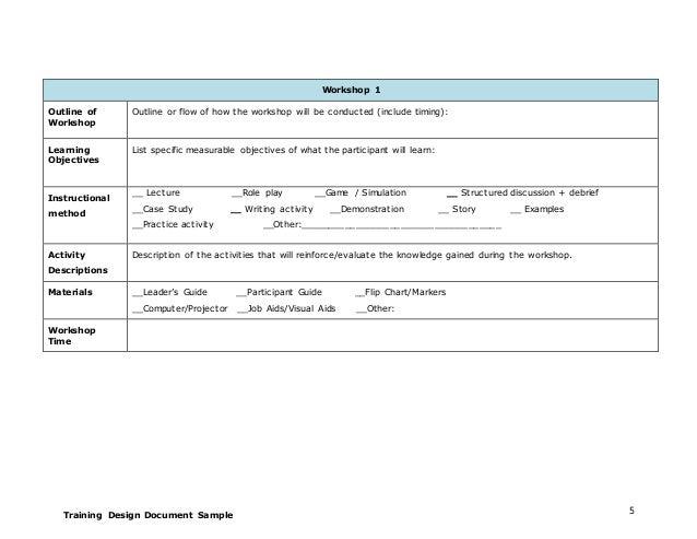 training design document template 1 rh slideshare net Participant Manual Template Teacher Guide Template