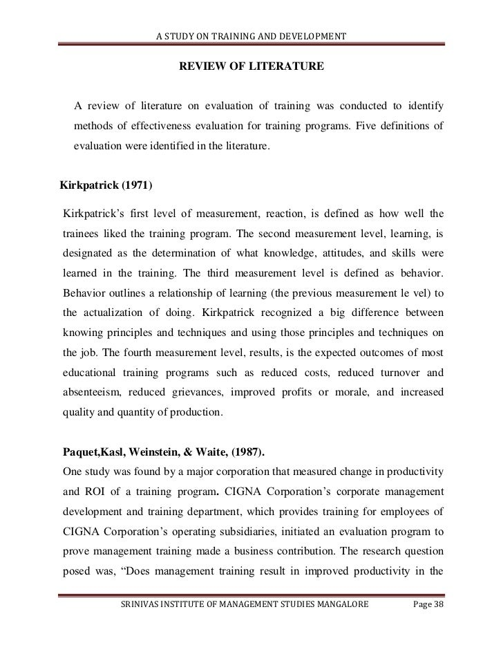 literature review on effectiveness training and development
