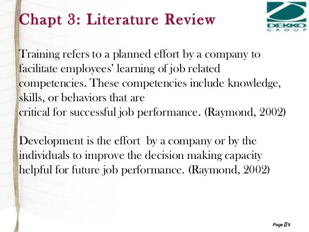 literature review on impact of training and development Empirical study of training and development as a tool for the study therefore concluded that for training and development to have significant impact on 2 literature review training and development has been a subject of many studies over the years raja.