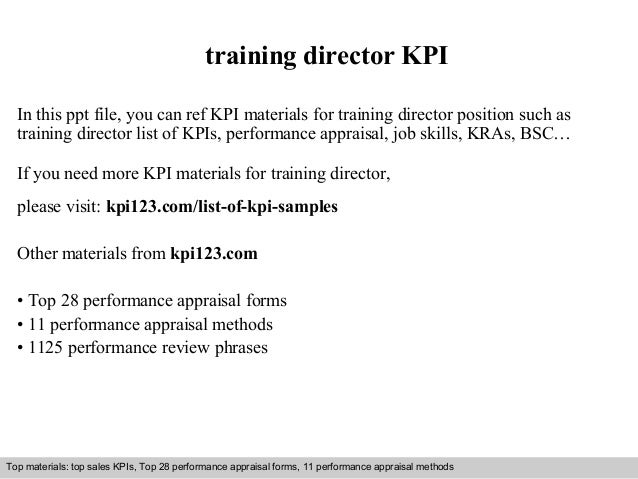 training director KPI  In this ppt file, you can ref KPI materials for training director position such as  training direct...