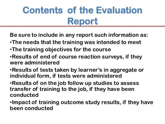 evaluation of training Minimum criteria document suggested program quality control criteria 1 training plan 2 program management 3 facilities and resources 4 quality control and evaluation.