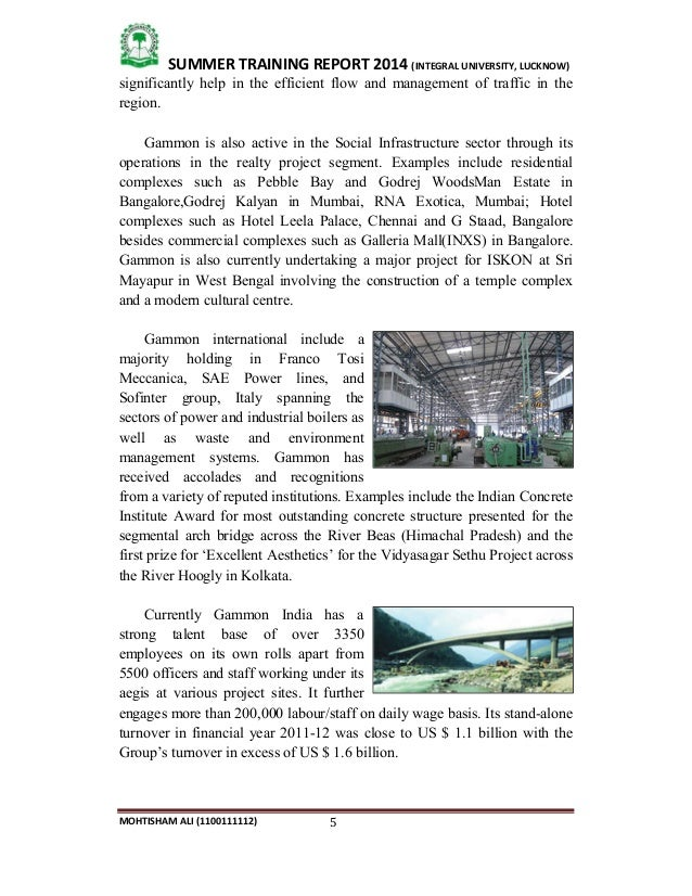 summer training report of construction company Summer training final report format department of computer engineering, summer training program report, title of project  training company, training.
