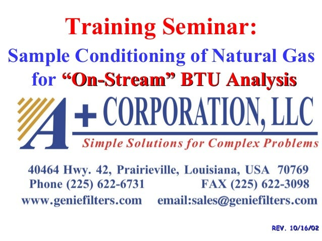 "Training Seminar: REV. 10/16/02REV. 10/16/02 Sample Conditioning of Natural Gas for ""On-Stream"" BTU Analysis""On-Stream"" BT..."