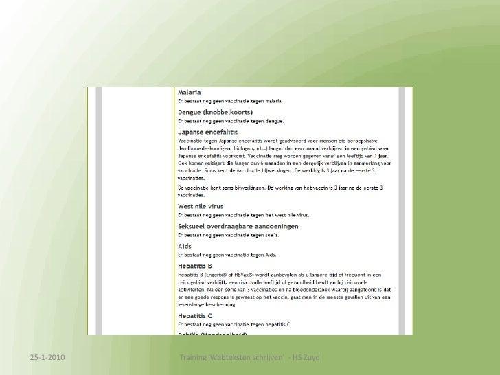 Praktijkcase Thuisvaccinatie.nl<br />13-1-2010<br />Training &apos;Webteksten schrijven&apos;  - HS Zuyd<br />