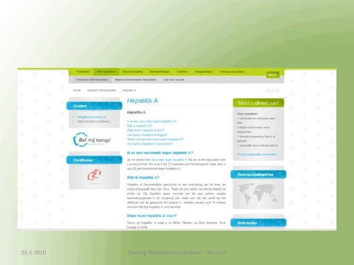 13-1-2010<br />Training &apos;Webteksten schrijven&apos;  - HS Zuyd<br />