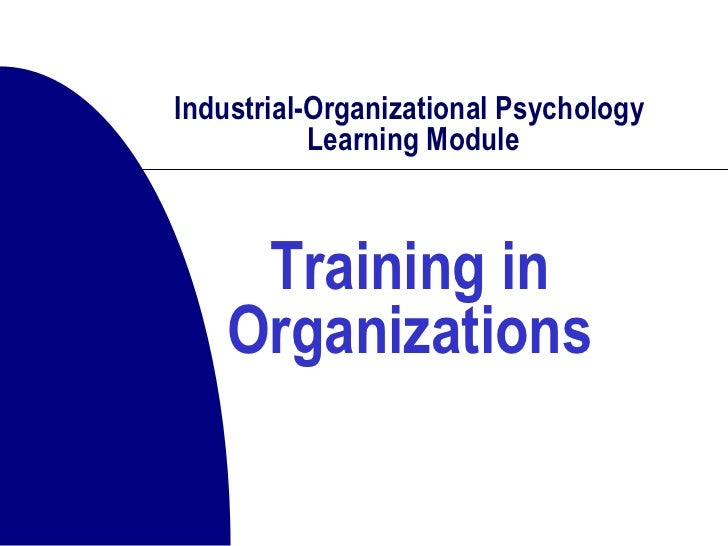 Industrial-Organizational Psychology  Learning Module Training in Organizations
