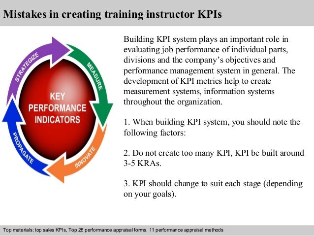 Mistakes in creating training instructor KPIs  Building KPI system plays an important role in  evaluating job performance ...