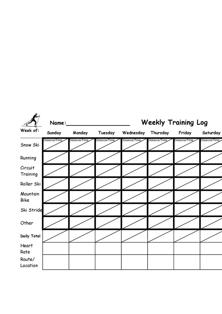Name:_______________                                        Weekly Training Log Week of:                                  ...