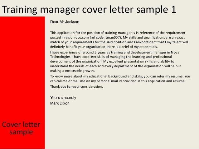 Training Manager Cover Letter . Training ...