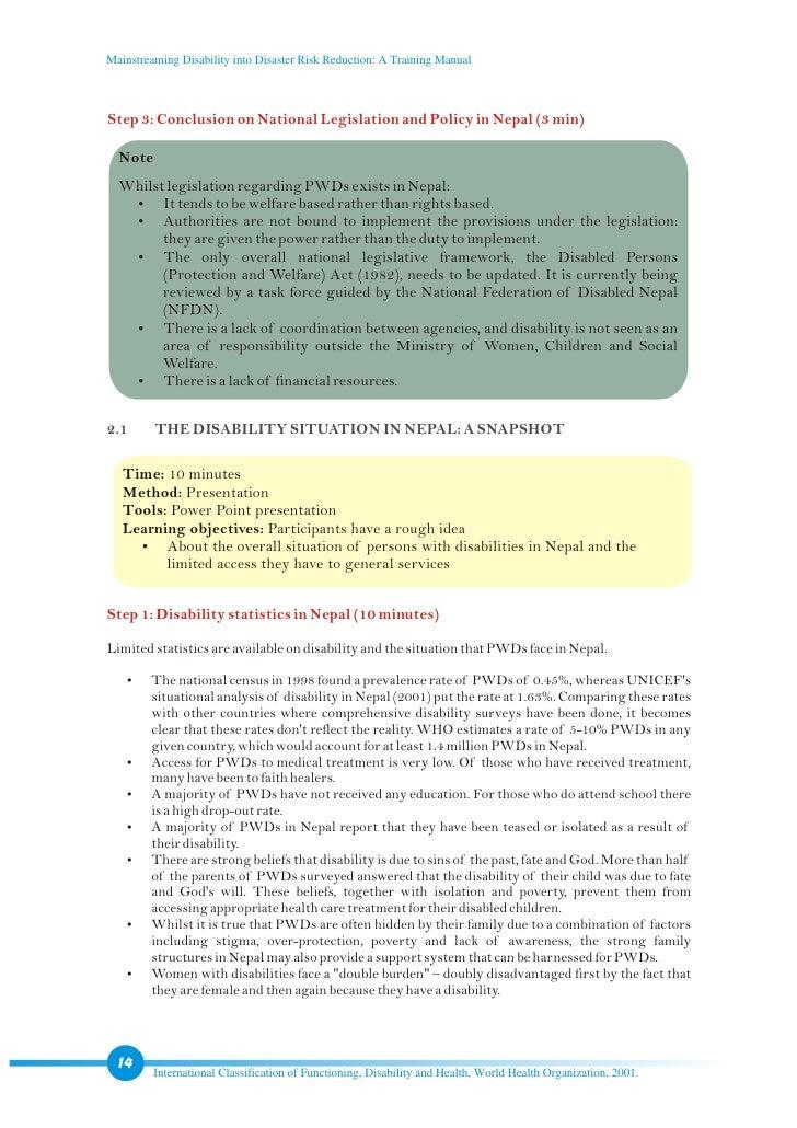 Training Manual on Disability Statistics
