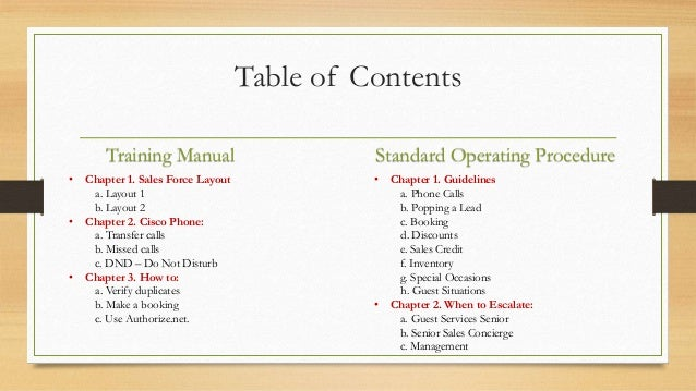 Training Manual And Standard Operating Procedure Guide; 2.