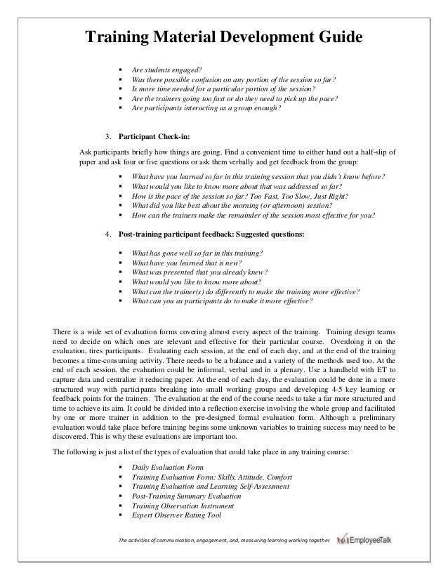 Training material development guide