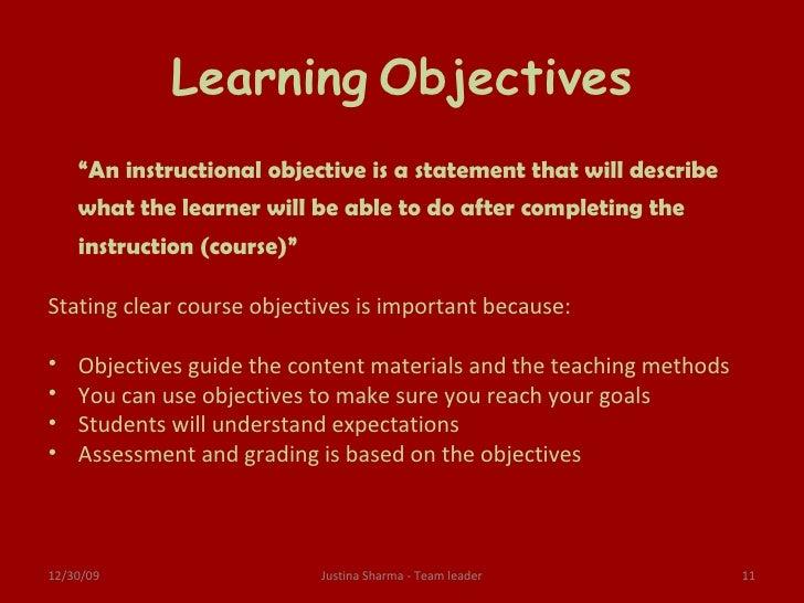 E Learning Objectives
