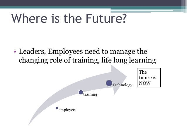 Where is the Future? • Leaders, Employees need to manage the changing role of training, life long learning employees train...