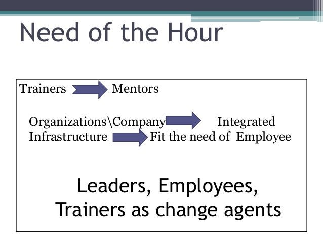 Need of the Hour Trainers Mentors OrganizationsCompany Integrated Infrastructure Fit the need of Employee Leaders, Employe...