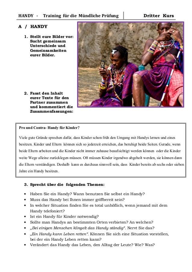 HANDY -  Training für die Mündliche Prüfung  Dritter Kurs  A / HANDY 1. Stellt eure Bilder vor: Sucht gemeinsam Unterschie...