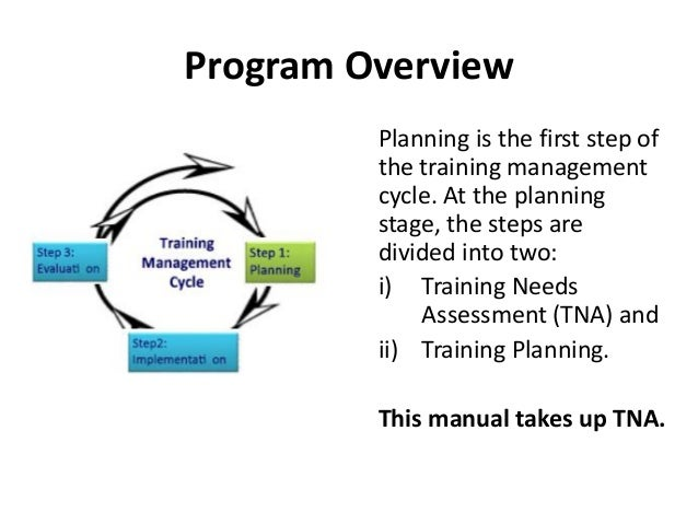 Program Overview Planning is the first step of the training management cycle. At the planning stage, the steps are divided...