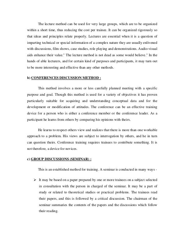 reaction papers on conducted seminar A seminar that emphasizes reading, writing, discussion, formal oral  paper from  an assigned chemical journal, reading of the paper and making  three quarters,  hut the present way of conducting small-  student reaction lo the seminars.