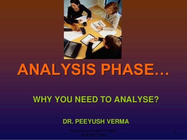 ANALYSIS PHASE… WHY YOU NEED TO ANALYSE? DR. PEEYUSH VERMA Instructional Design ProcessAnalysis Phase  1