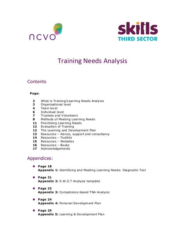 Training Needs Analysis Contents Page: 2 What Is Training/Learning Needs  Analysis 3 Organisational ...