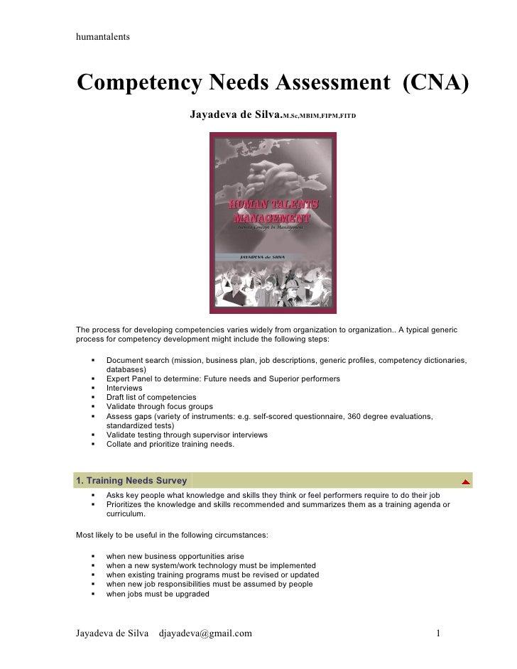 humantalentsCompetency Needs Assessment (CNA)                                 Jayadeva de Silva.M.Sc,MBIM,FIPM,FITDThe pro...