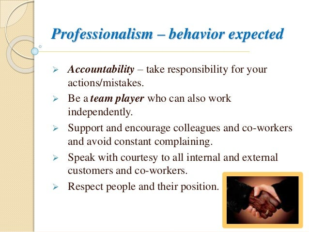 Professional behavior workplace