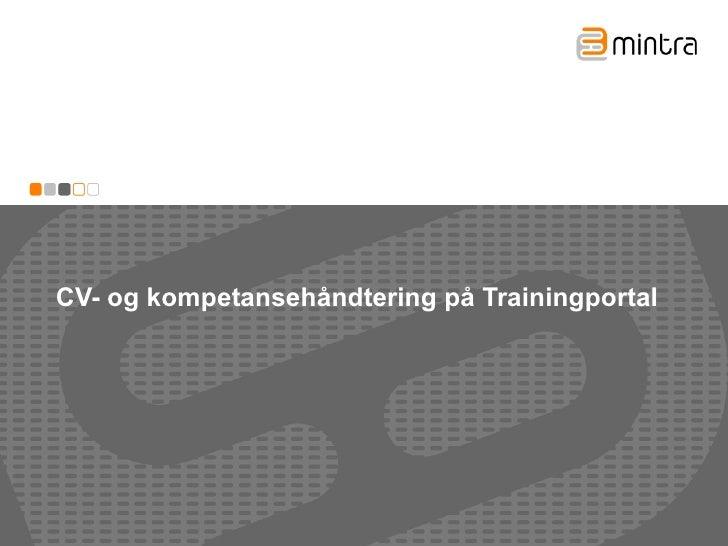 CV- og kompetansehåndtering på Trainingportal